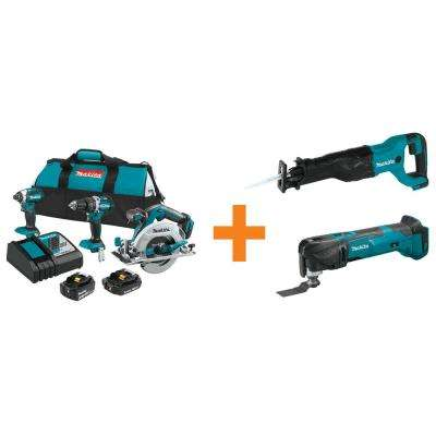 18-Volt LXT Lithium-Ion Brushless Cordless Combo Kit (3-Tool) with Bonus Reciprocating Saw and Multi-Tool