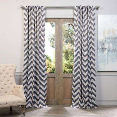 Semi-Opaque Fez Grey and Tan Blackout Curtain - 50 in. W x 84 in. L (Panel)