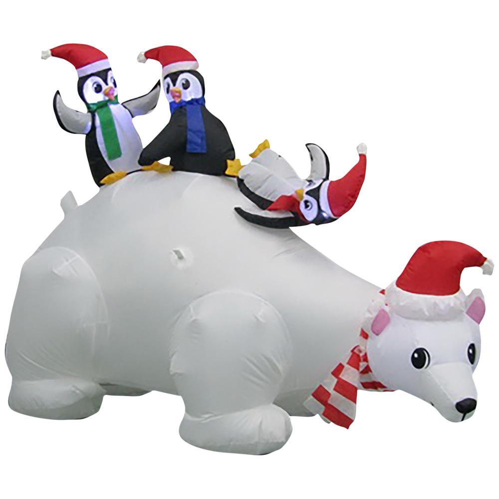 w pre lit inflatable polar bear family airblown scene - Polar Bear Inflatable Christmas Decorations