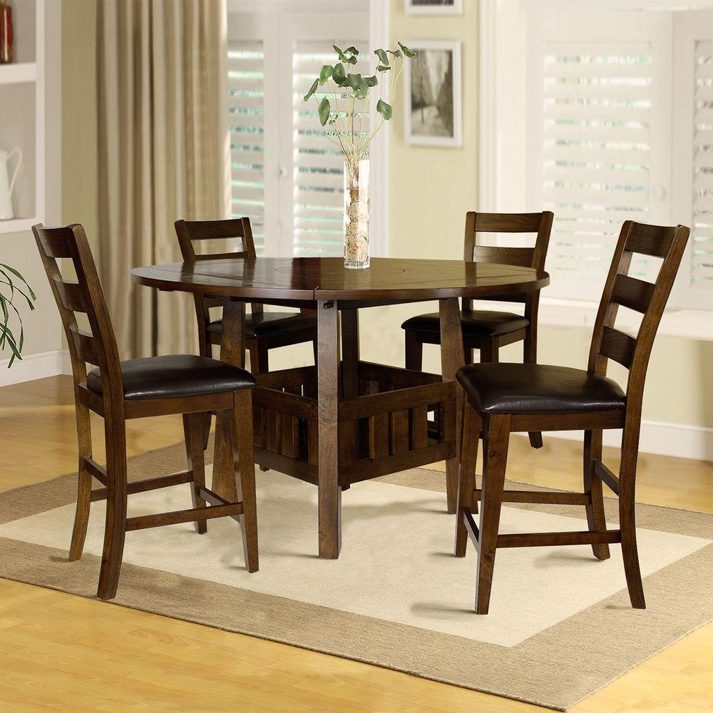 HomeSullivan Emmalee 5-Piece Dark Oak Bar Table Set