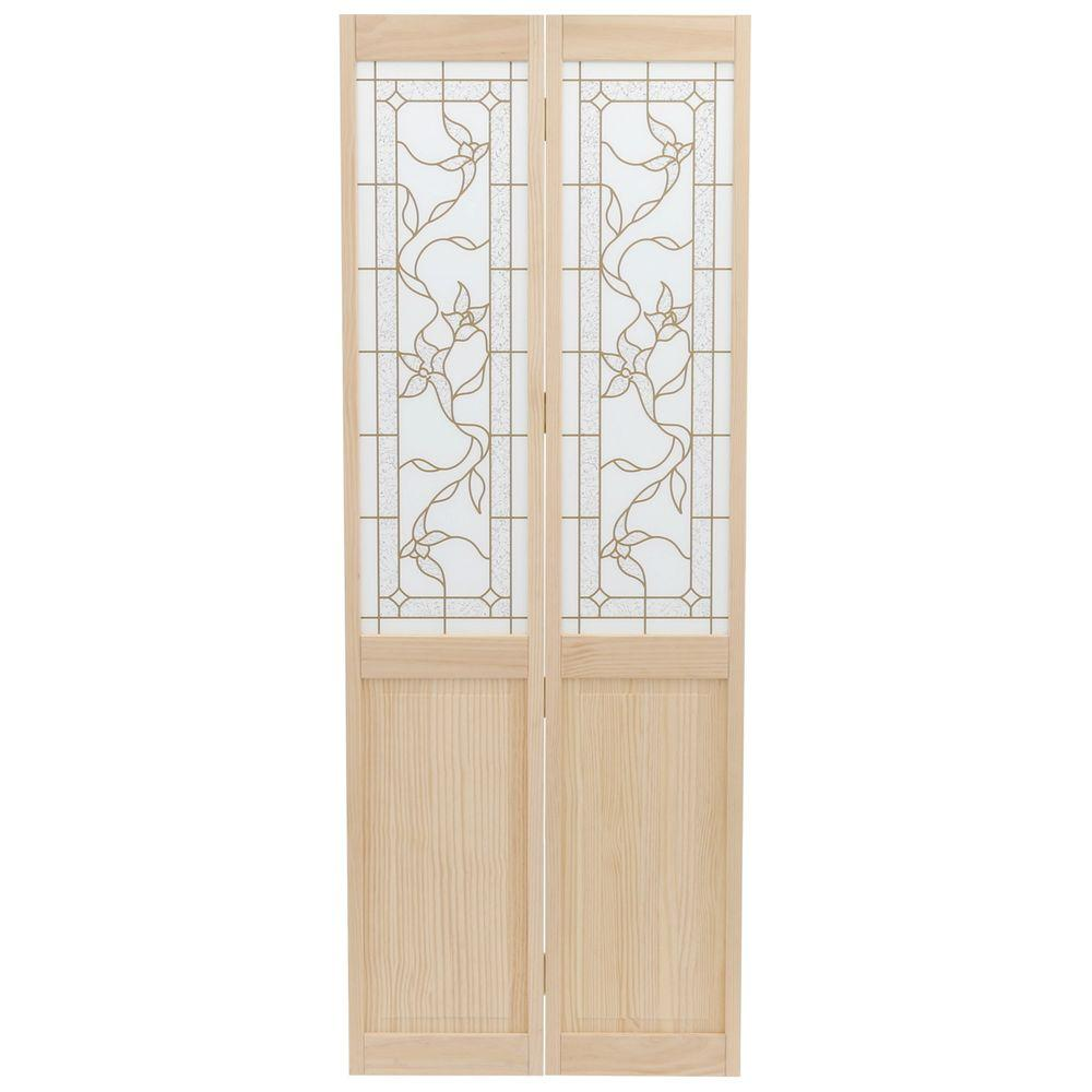 Pinecroft 30 in x 80 in glass over panel tuscany wood universal reversible interior bi fold for Interior wood doors home depot