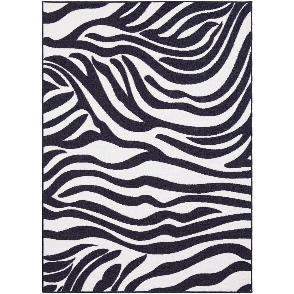 Ottomanson Glamour Collection Animal Print Design Zebra 8 ft. x 10 ft. Area Rug