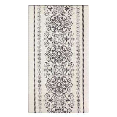 Soft Modern Gray and Cream 8 ft. x 4.5 ft. Traditional Venetian Reversible Indoor Area Rug
