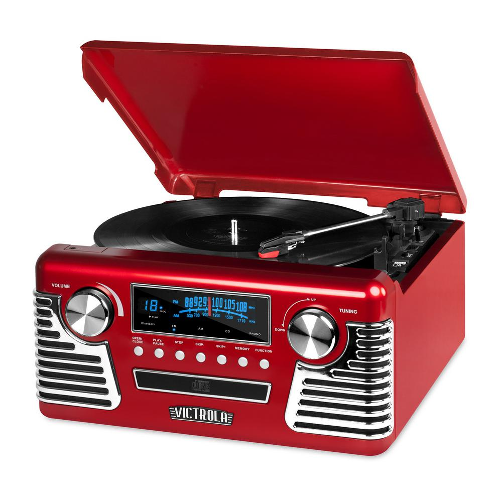 Retro Style Turntable with Bluetooth and CD Player in Red Victrola's 50's inspired record player is designed to be a blast from the past. But don't let its fun retro design fool you. It's loaded with all of the music playing technology of the past 70-years.