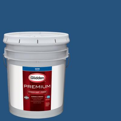 Glidden Premium 5 gal. #NHL-030G Washington Capitals Vintage Blue Satin Interior Paint with Primer