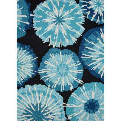 Starburst Pirate Black 4 ft. x 6 ft. Abstract Area Rug