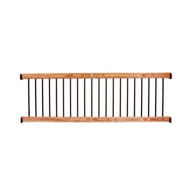 8 ft. Aluminum Cedar-Tone Southern Yellow Pine Deck Railing Kit