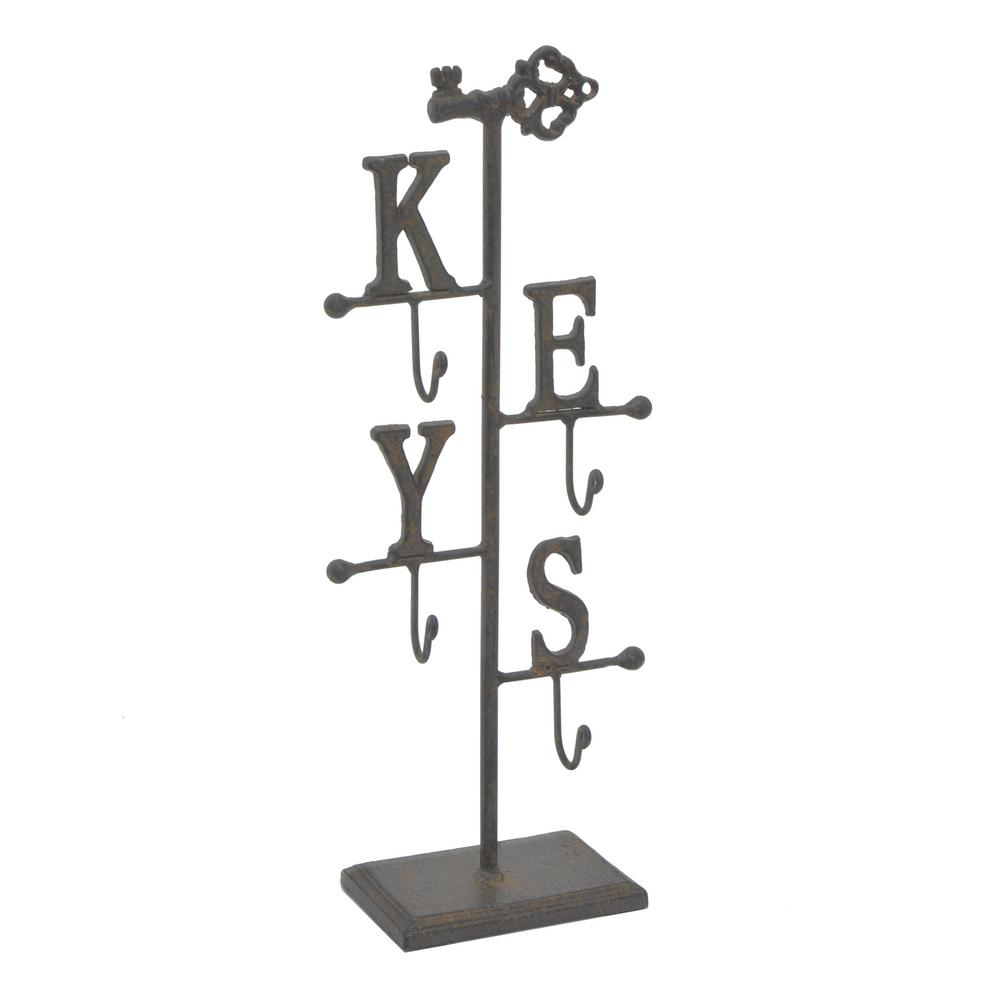 THREE HANDS Rust Brown Metal Jewelry Holder Three Hands presents this elegant jewelry stand that is perfect for all of your jewelry collection. This beautiful Key design organizer looks great on your dressing table and makes the best use of your space. With the help of this organizer, you can show off your most beautiful jewelry pieces. Color: Brown.