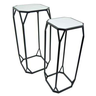 27.5 in. Black Accent Table with Mirrored Tops (Set of 2)
