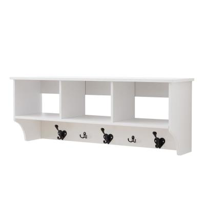 Troyes White 5 Hook Wall Mounted Coat Rack With Storage