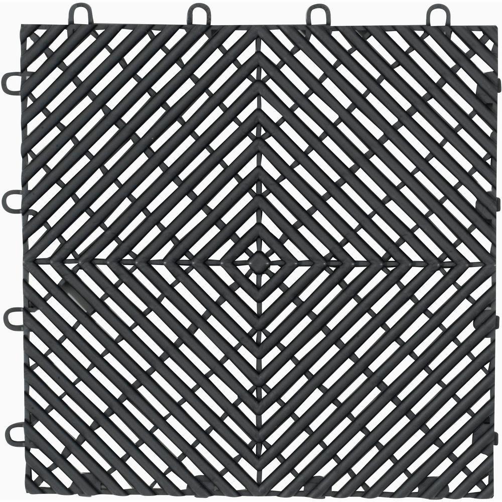 Gladiator 1 ft. x 1 ft. Charcoal Polypropylene Garage Flooring Drain Tile (4-Pack)
