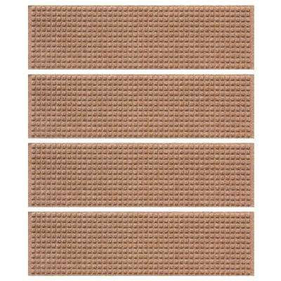 Medium Brown 8.5 in. x 30 in. Squares Stair Tread Cover (Set of 4)