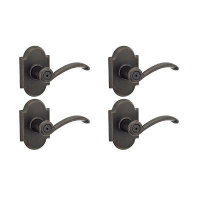 Austin Venetian Bronze Privacy Bed/Bath Door Lever (4-Pack)