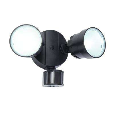 110 Degree 2 Head Black Integrated LED Motion Activated Outdoor Flood Light