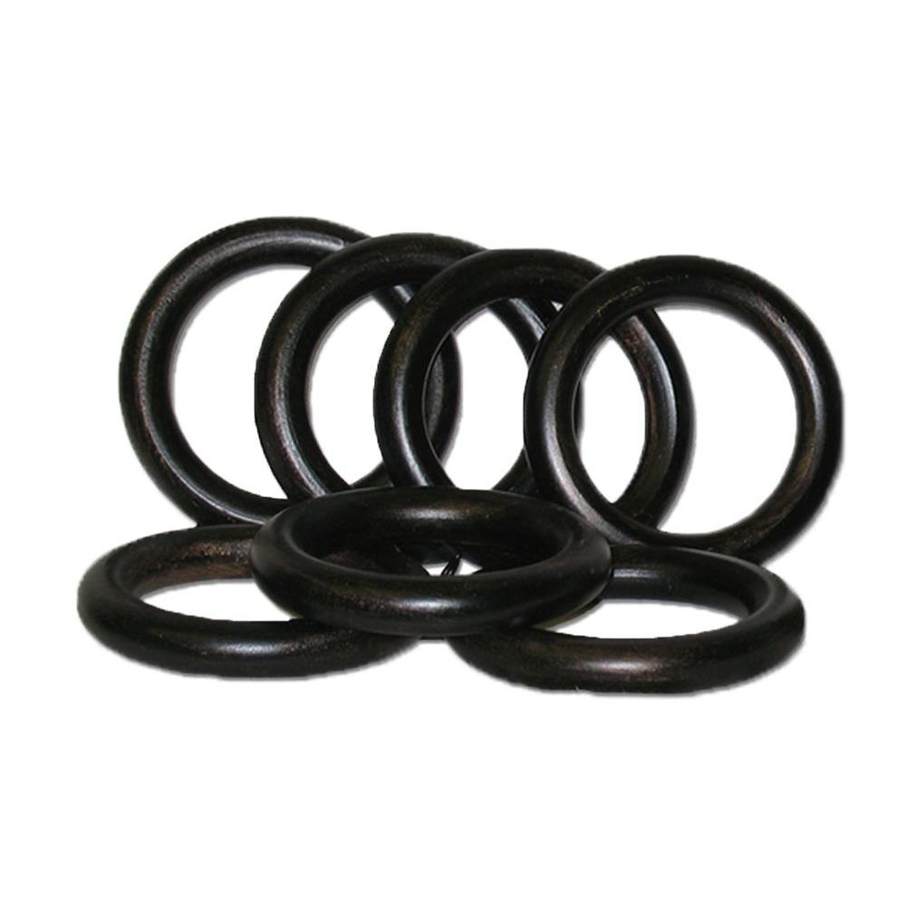 Classic Home 2 in.Antique Bronze Wood Rings Set of 7 for use with 2 in. or 2 1/4 in. dia. pole.