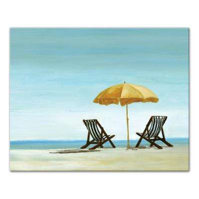 16 in. x 20 in. ''Beach Chairs Under Yellow Umbrella'' Printed Canvas Wall Art