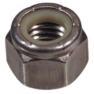 "1/4""-28 Stainless Steel Nylon Insert Stop Nut (15-Pack)"