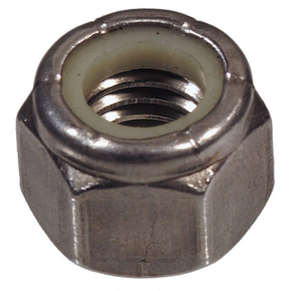 7/16''-14 Stainless Steel Nylon Insert Stop Nut (4-Pack)