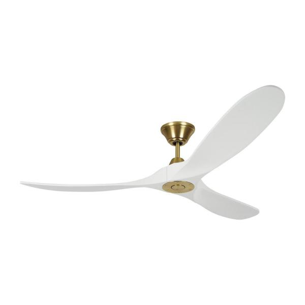 Maverick 60 in. Indoor/Outdoor Burnished Brass Ceiling Fan with White Blades, DC Motor and 6-Speed Remote Control