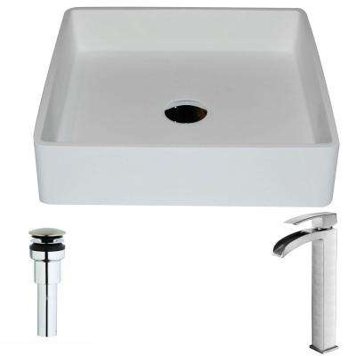 Passage Series 1-Piece Man Made Stone Vessel Sink in Matte White with Key Faucet in Brushed Nickel