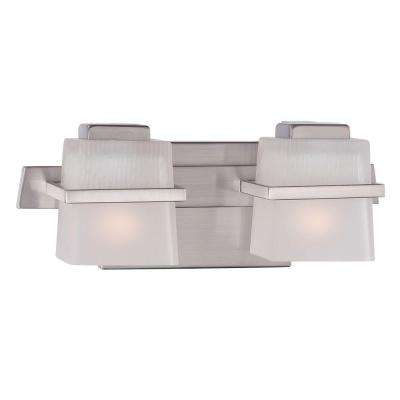 Nickel minimalist hampton bay vanity lighting lighting the harlin hills 2 light brushed nickel vanity light with etched glass shades mozeypictures Choice Image