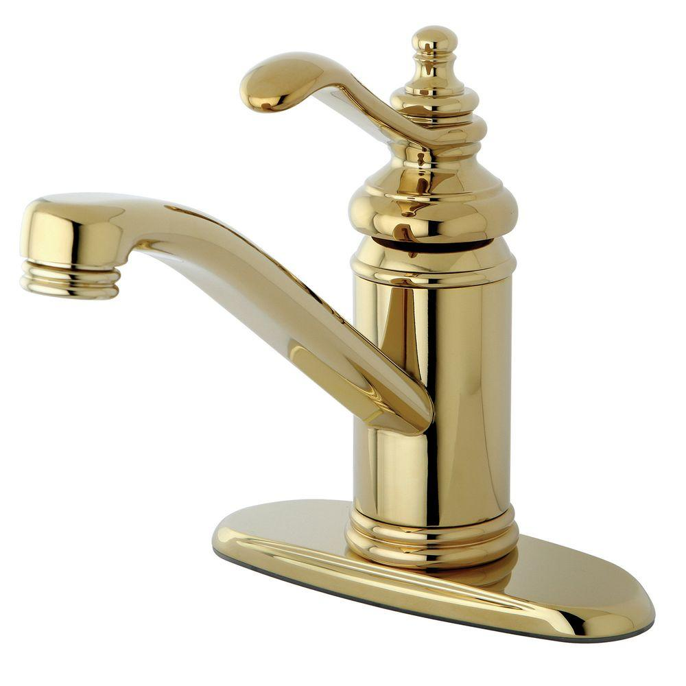 Kingston Brass 4 In Centerset 1 Handle High Arc Bathroom Faucet In Polished Brass Hks3402tl
