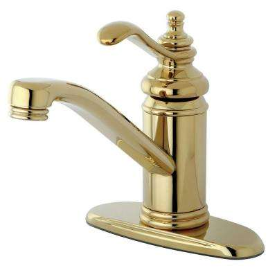 4 in. Centerset 1-Handle High-Arc Bathroom Faucet in Polished Brass