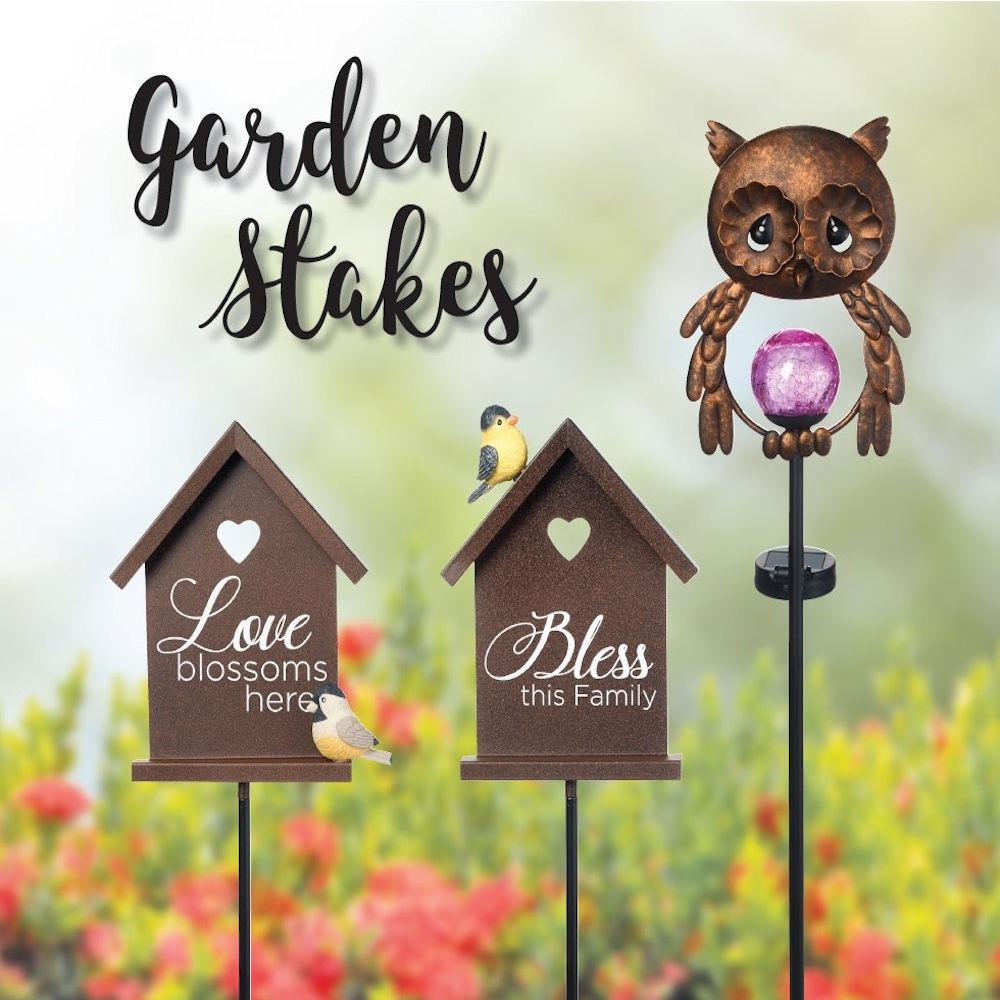 Precious Moments 26 in. Owl LED Solar Stake Who wants to have some delightful nighttime fun in the garden. A small solar panel attached to this owl garden stake provides all the power for the LED light within the mesmerizing crackle glass orb. Placed along a walkway, beside the front porch or amongst the flower garden, this metal owl looks great during the day and welcomes your garden guests with a lovely touch of colorful lights at night. Give this thoughtful Precious Moments garden stake as a thinking of you gift, birthday gift, mothers day gift, housewarming gift or just because she loves to make her surroundings beautiful. Crafted in metal and glass, includes 1 AA rechargeable battery. On/off switch located on solar battery pack attached to stake. Approximately 26 in. H.