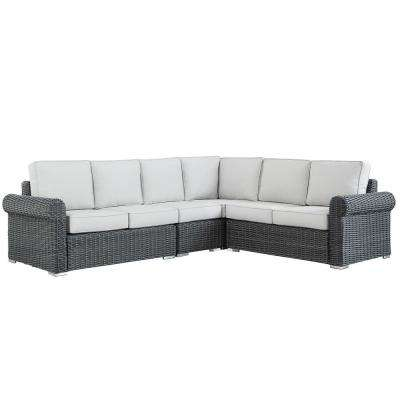 Camari Charcoal Rolled Arm Wicker Outdoor Sectional with Beige Cushion