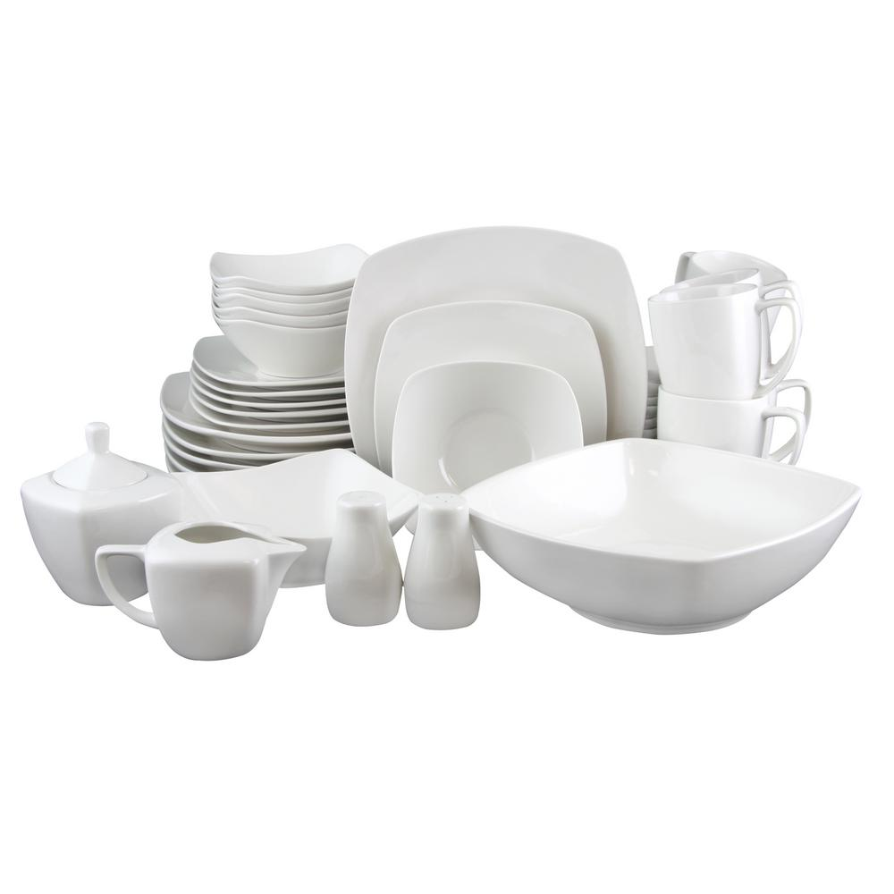 Gibson Zen 39-Piece White Dinnerware Set  sc 1 st  The Home Depot : gibson tableware - pezcame.com