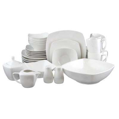 Zen 39-Piece White Dinnerware Set