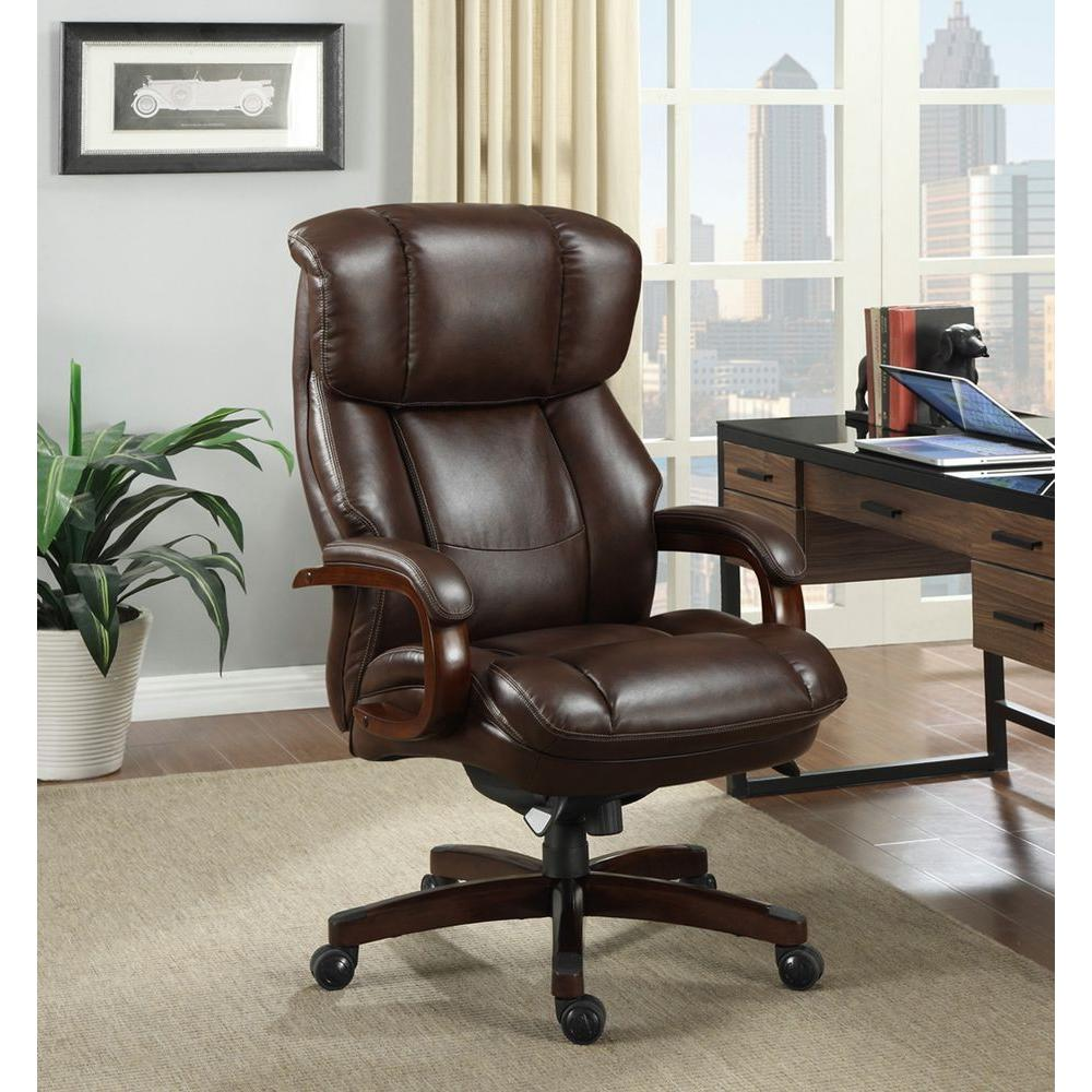 La Z Boy Fairmont Biscuit Brown Bonded Leather Executive Office Chair