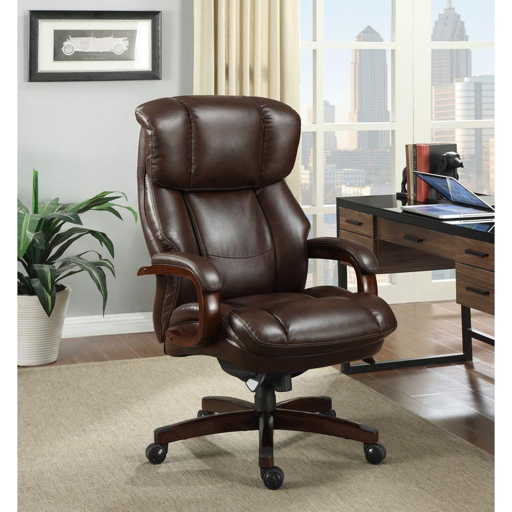 La Z Boy Fairmont Biscuit Brown Bonded Leather Executive Office