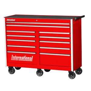 International Pro Series 54 inch 12-Drawer Roller Cabinet Tool Chest in Red by International