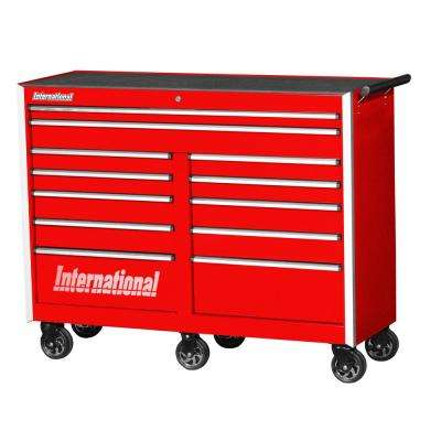Pro Series 54 in. 12-Drawer Roller Cabinet Tool Chest in Red