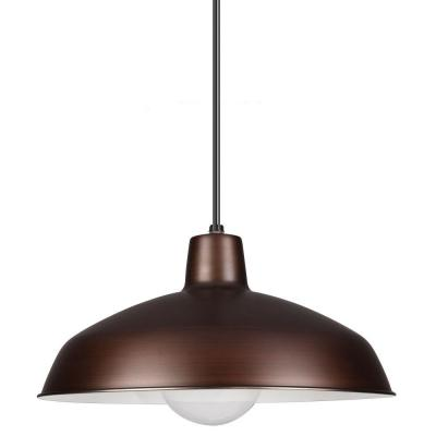 1-Light Antique Brushed Copper Painted Shade Pendant