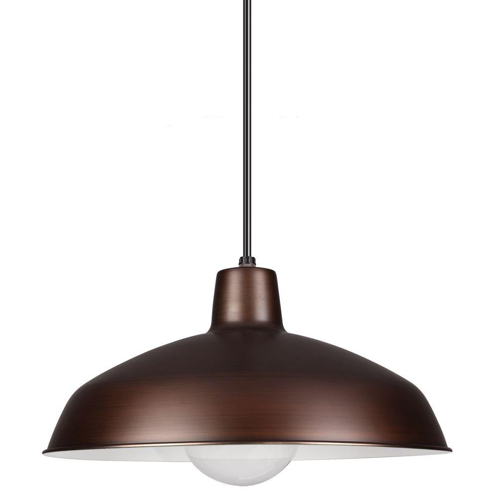 copper pendant lighting. Sea Gull Lighting 1-Light Antique Brushed Copper Painted Shade Pendant