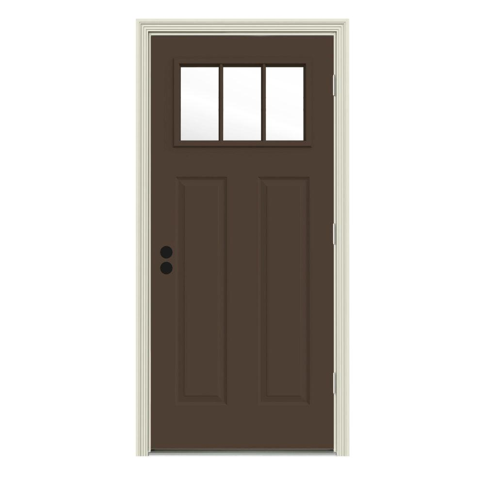 34 in. x 80 in. 3 Lite Craftsman Dark Chocolate Painted