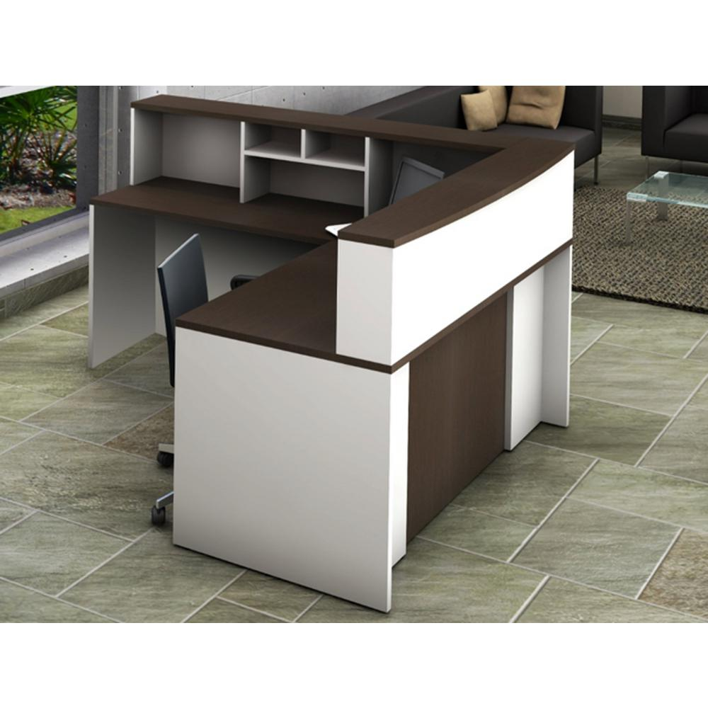 group contemporary office furniture ofislite office reception desk collaboration center 4piece group contemporary whiteespresso color to
