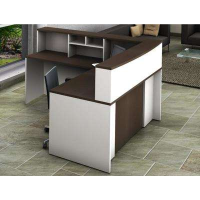 Office Reception Desk Collaboration Center 4-Piece Group Contemporary White/Espresso Color to Update Your Space