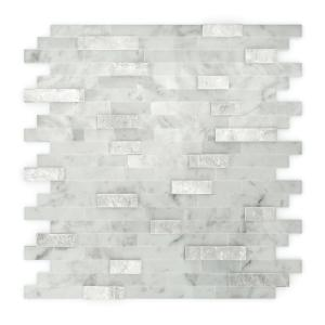 Camarillo White and Gray 11.77 in. x 11.57 in. x 8 mm Stone Self-Adhesive Wall Mosaic Tile