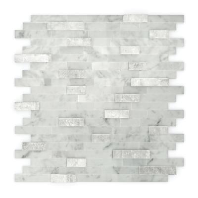 Camarillo White and Gray 4 in. x 4 in. Stone Self-Adhesive Wall Mosaic Tile Sample (0.11 sq. ft./Each)