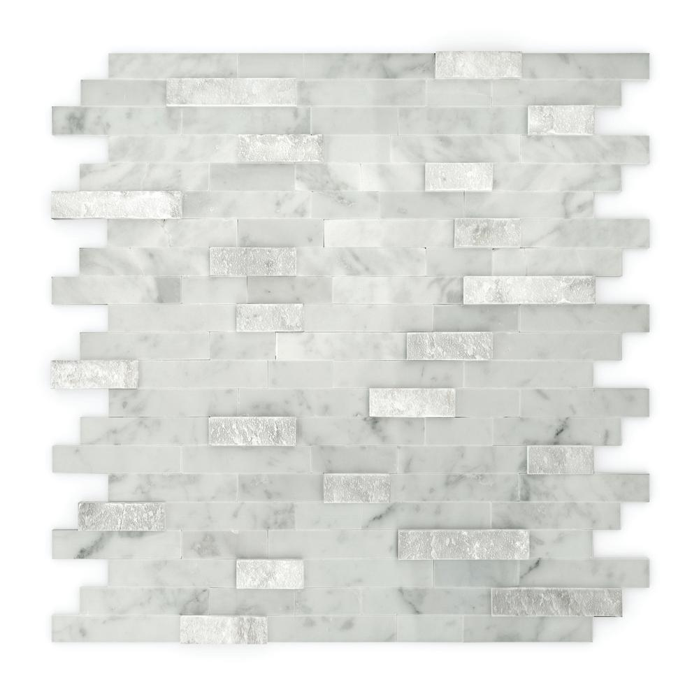 inoxia speedtiles camarillo white and grey in x 11 6 in x 5 mm stone self adhesive wall. Black Bedroom Furniture Sets. Home Design Ideas