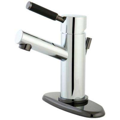 4 in. Centerset Single-Handle Bathroom Faucet Bathroom Faucet in Chrome and Black Stainless Steel