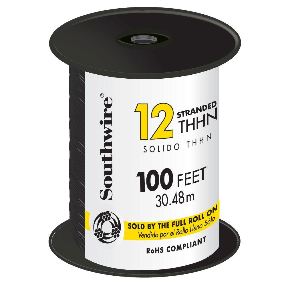 100 ft. 12 Black Stranded CU THHN Wire