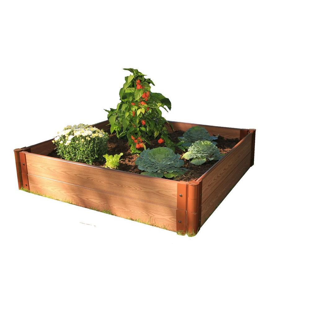 Frame It All One Inch Series 4 ft. x 4 ft. x 11 in. Composite Raised Garden Bed Kit