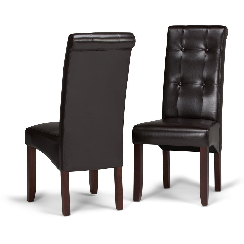 Simpli home cosmopolitan tanners brown faux leather parsons dining chair set of 2
