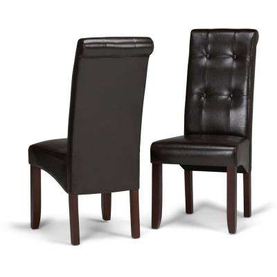 Cosmopolitan Contemporary Deluxe Tufted Parson Chair (Set of 2) in Tanners Brown Faux Leather