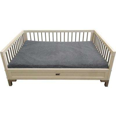 Large Indoor Antique White Manhattan Bed with Memory Foam