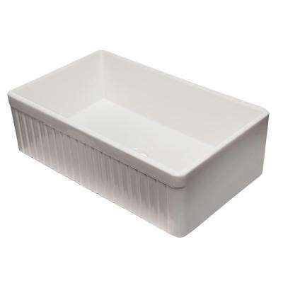 Fluted Farmhouse Apron Fireclay 33 in. Single Basin Kitchen Sink in White